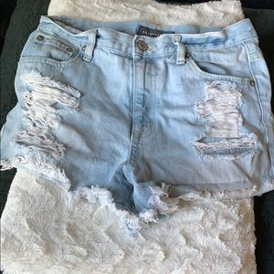 Aeropostale Distressed Light Wash Shorts